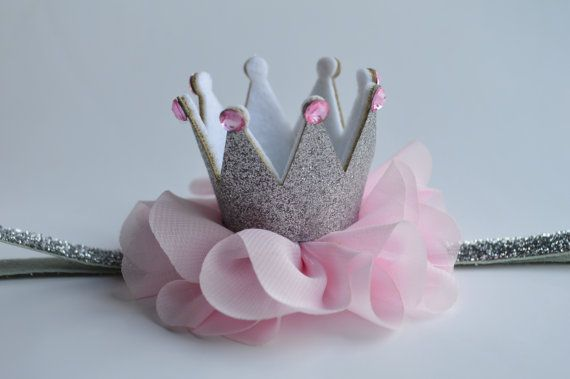 Silver and Pink Baby Crown Headband