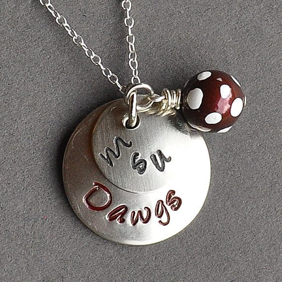 MSU - Mississippi State University inspired Hand Stamped Necklace - College Jewelry - High School Jewelry - Graduation Gift on Etsy, $37.00