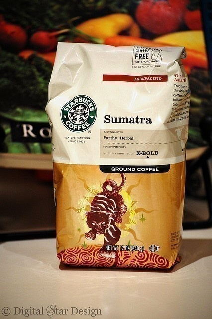 "Starbucks Sumatra coffee... ""A dark-roasted, full-bodied coffee with spicy and herbal notes and a deep, earthy aroma.""  ....and it smells fabulous!"