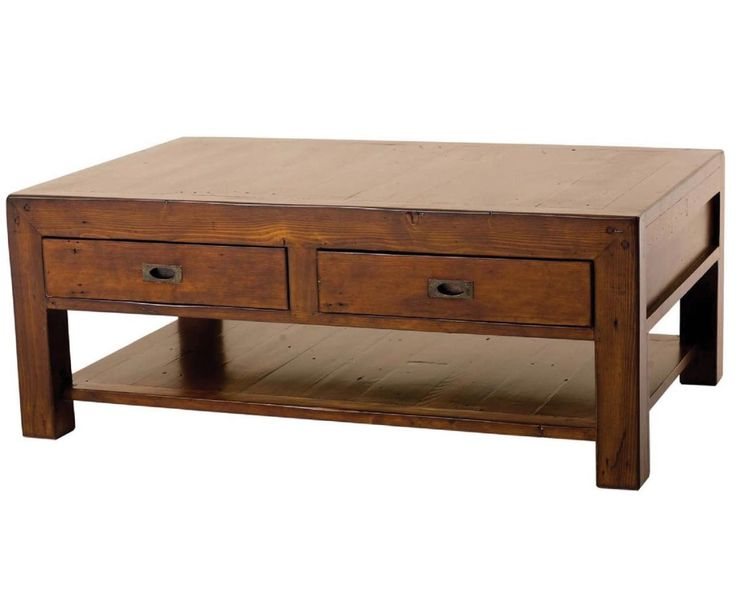 Large Table Coffee Drawers Wooden