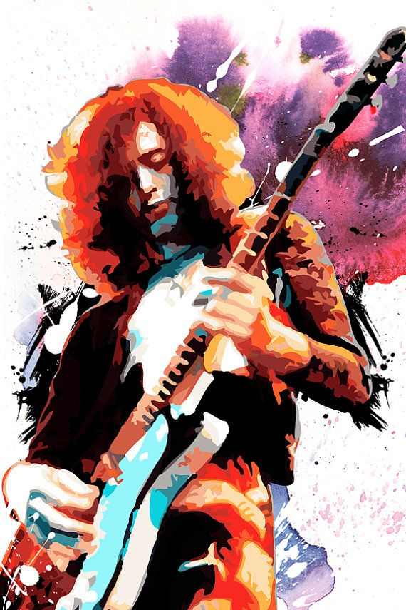 Jimmy Page Led Zeppelin Rock And Roll Music Art Ilration Poster Size Canvas Print Available In 18x24 Or 24x36 Guitar 2018