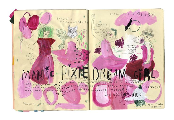 Sketchbook spread by Tree Abraham. #sketchbook #manicpixiedreamgirl