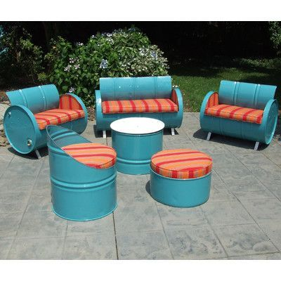 Drum Works Furniture Tahoe Indoor/Outdoor Garden Patio 6 Piece Seating Group with Cushion