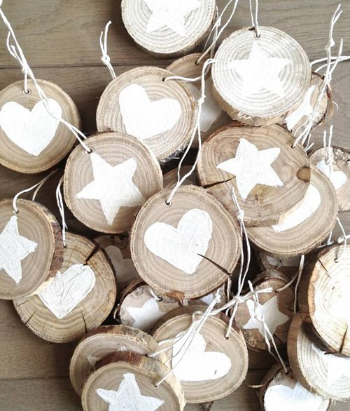 painted wood ornaments- you can use sponges cut out as a star/heart and use any color paint!