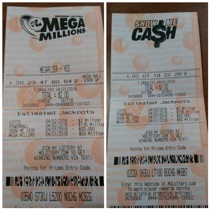 Numbers for tonight's show me cash and mega millions draw. 04/01/16