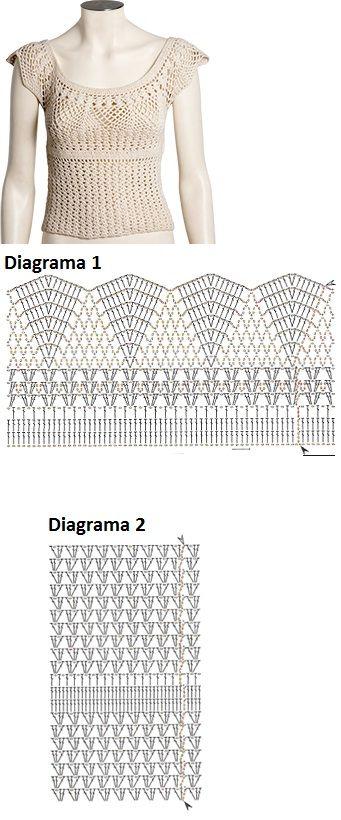 Blusa tamanho 38  Material: 2 novelos 500m cor creme (2219) da Linha Bella - Pingouin e agulha para crochê 2,5 mm  Frente e costas: comece pelo decote. Faça 224 corr., feche em anel com 1 p.bx., acompanha o diagrama 1 em carreiras circulares até a 14° carreira. Arremate. Coloque a peça pronta sobre superfície plana, marque 21cm de cada lado para as cavas. Prenda a linha com 1 p.bx. em um dos lados, siga o diagrama 2 em carreiras circulares até a 20° carreira, formando o corpo da blusa…