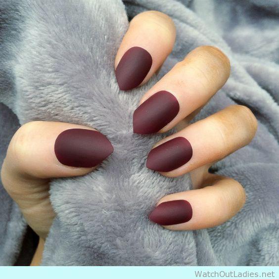 Elegant burgundy matte nails for fall