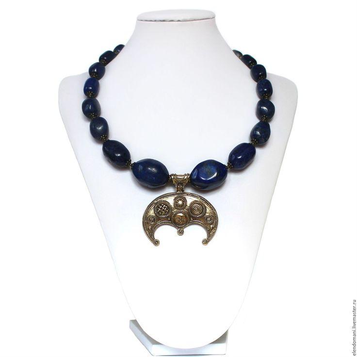 """Купить Колье """"АЛЁНА"""" - тёмно-синий, стильные штучки, авторские украшения, ручная авторская работа"""