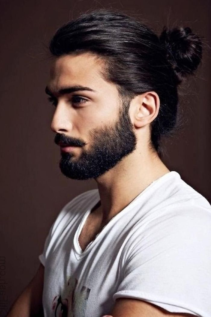 Black Hair In Bun Beard Wavy Hairstyles For Men White Shirt In 2020 Long Hair Styles Men Mens Hairstyles Man Bun Hairstyles