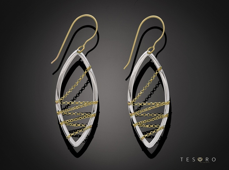 Amazing new oval dangle earrings. Available in yellow and white gold, set in 9 karat. Matching pendent available. MADE IN ITALY.