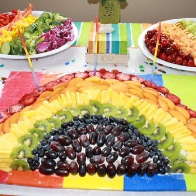 Rainbow fruit display