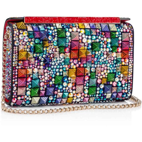 Vanité Clutch  Multicolor and China blue Crystal strass and studs on... ($3,590) ❤ liked on Polyvore featuring bags, handbags, clutches, colorful purses, christian louboutin handbags, handbags clutches, man bag and multi coloured handbags