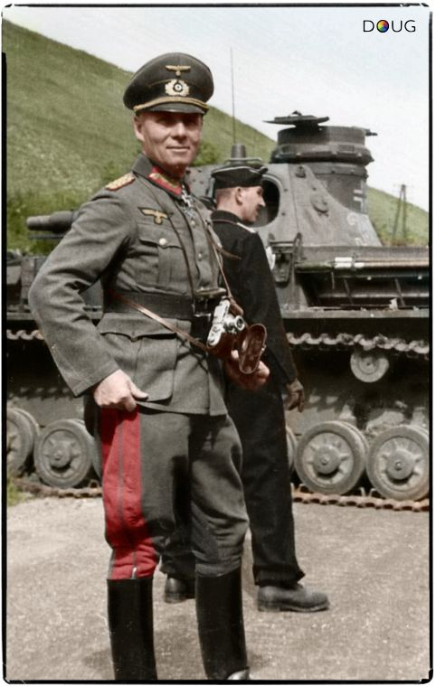 Major General Erwin Rommel, and an early Panzer IV (Nº321) of the 7th Panzer Division in France, May 1940.