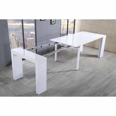 ZACK Table console extensible 45-300x90cm blanc laqué - Achat / Vente console extensible ZACK Table console Structure: Bois et panneaux de particules-Revêtement: Laqué - Cdiscount
