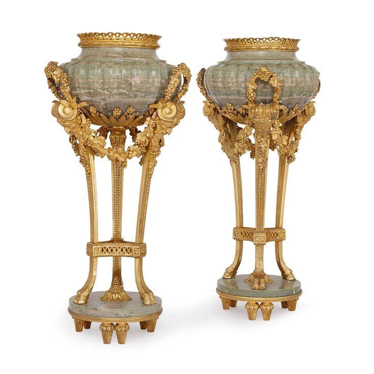 Pair of ormolu mounted Connemara marble urns after…