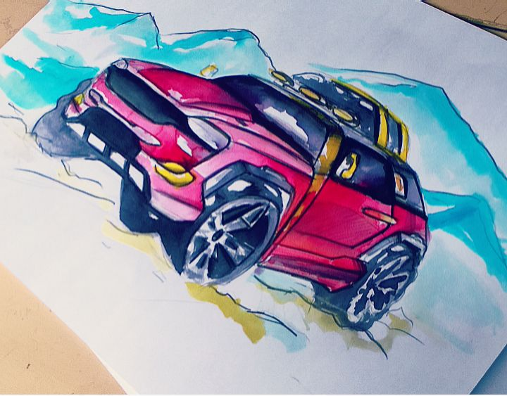 watercolor practice  suv sketch