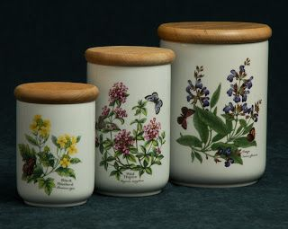 Royal Worcester Storage Jars -- Worcester Herbs pattern, dated 1990.  Won at auction $16. for the set of three.