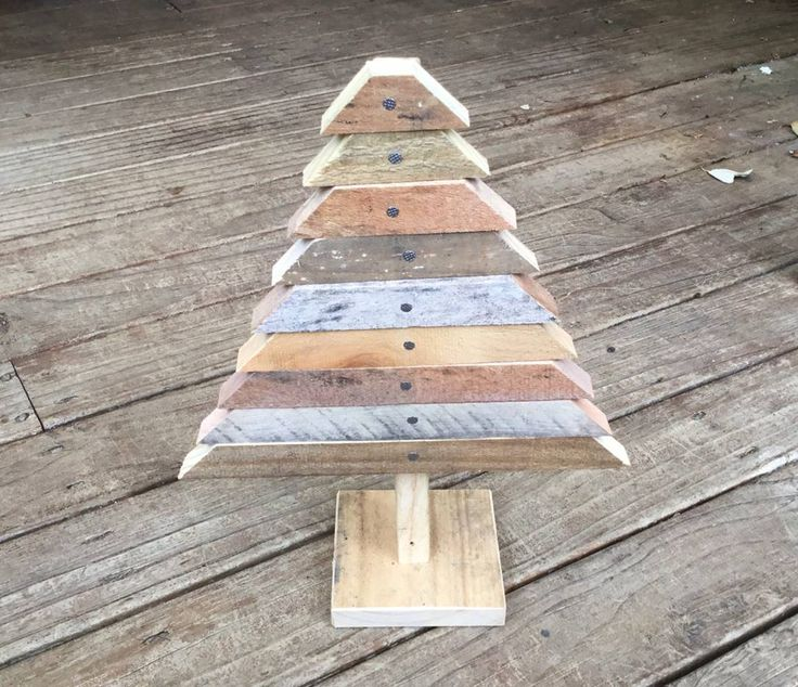 A small Xmas tree made from pallet wood, great for a table decoration.