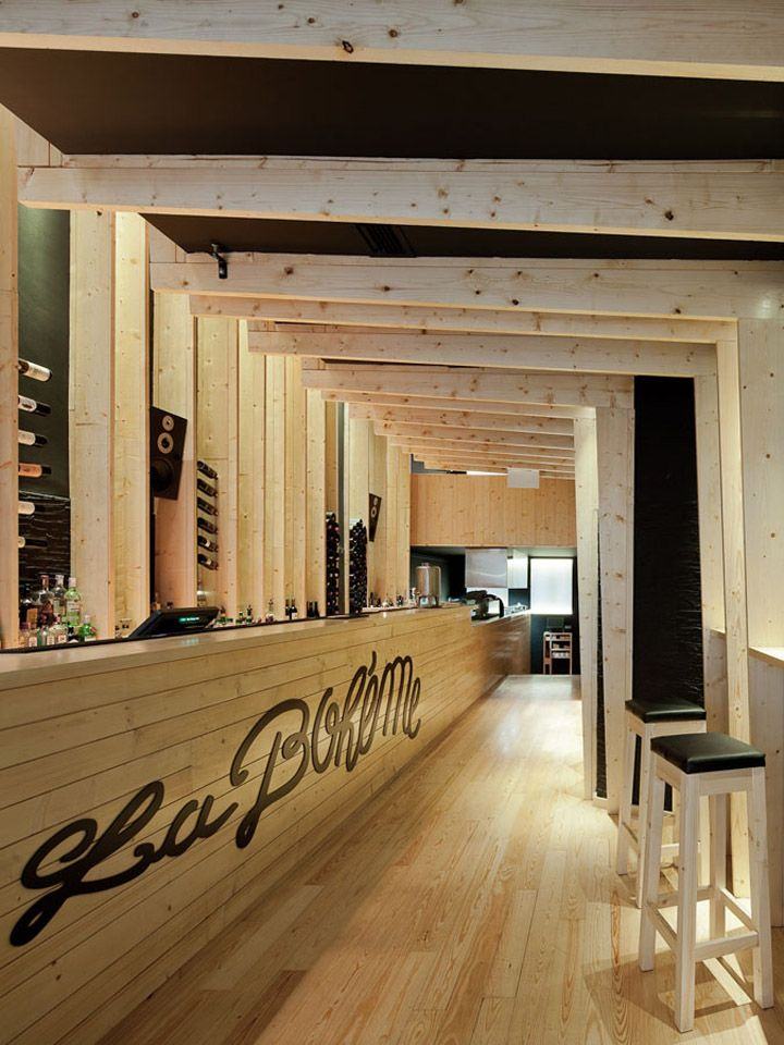 La Bohème bar embraces pine wood throughout the entire interior <3 ...  #retail #restaurant #interior #design: The Bohem, Ava Architects, Restaurant Interiors Design, Embrace Pine, Bohèm Bar, Design Interiors, Design Home, Pine Wood, Entir Interiors