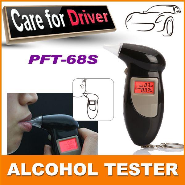 100% merek baru bahan abs warna hitam digital keychain breathalyzer, / Fit tester alkohol dengan backlight merah pft68s