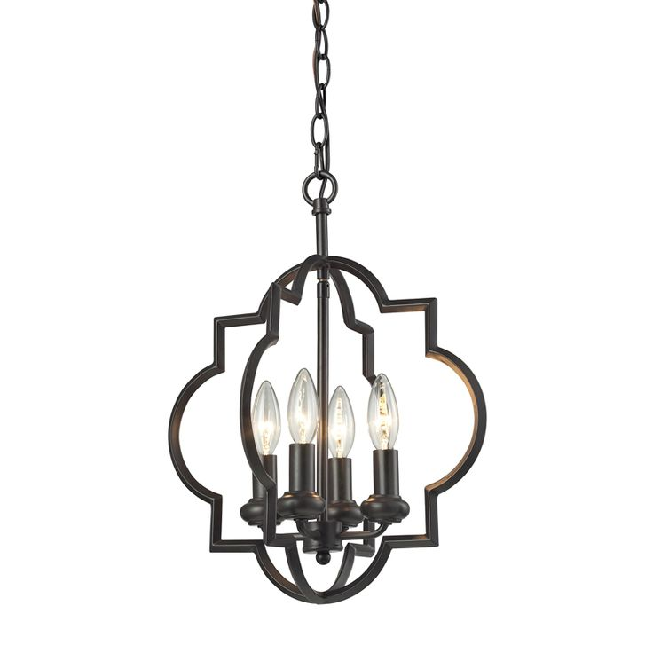 two barbed quatrefoil shapes describe a circle around this fourlight pendant for a light graceful feel