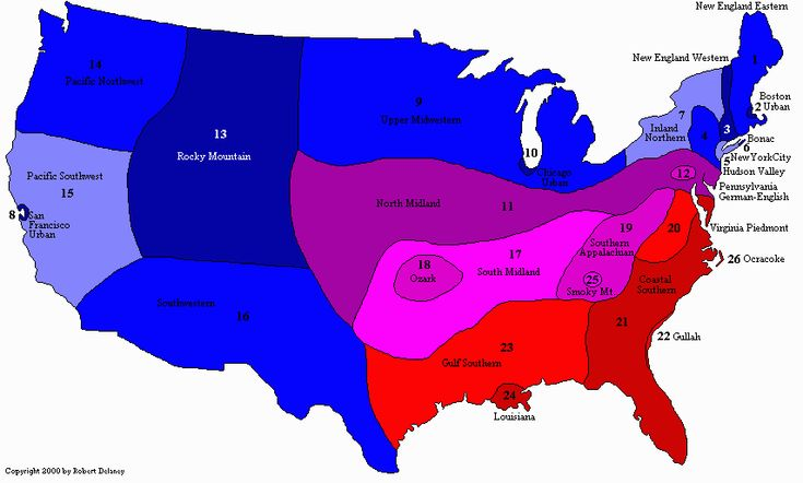 American Dialects : Dialect map of American English. Click to read the history and development of each dialect.