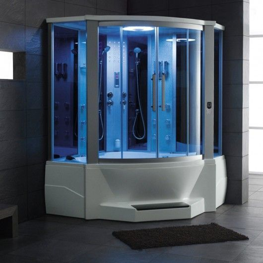 Ariel 701 Steam Shower With Whirlpool Bathtub Is The Largest Two Person Tub  Offered From Ariel Bath. The Blue Tempered Glass Creates A Futuristic And  Modern ...