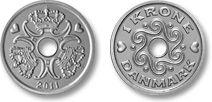 1 krone coin; Danish krone (dk)