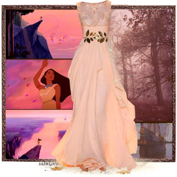 """I'm needed here."" by asktheravens on Polyvore Pocohantas formal gown."