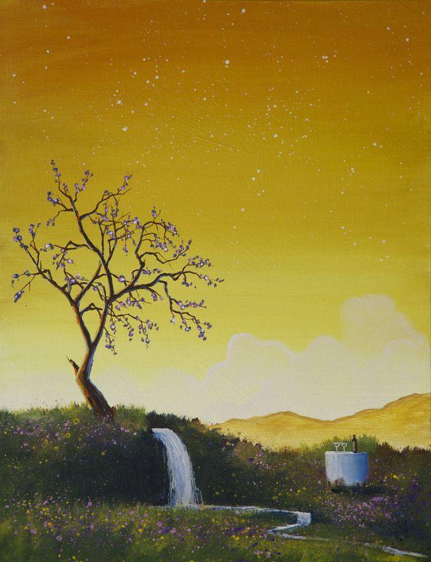 """Day One"" by Bill Higginson. #Yellow #summer #sun #tree #art #artwork #painting #surrealism #dreamy"