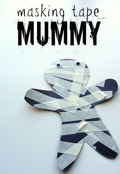 Halloween Crafts-masking tape mummy