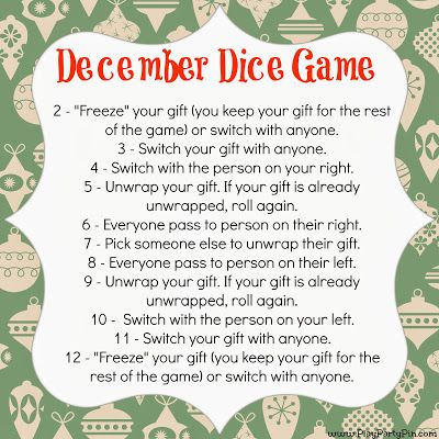 Dice Gift Exchange game- fun idea!