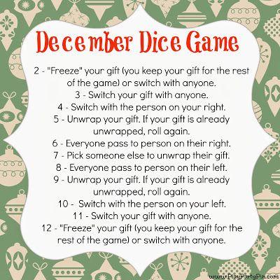Dice Gift Exchange game- fun idea! @Niki Kinney Kinney Kinney Samsil & @Lisa Phillips-Barton Mahaffey Croley