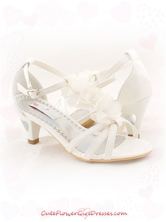 flower girl shoes | Ivory Chiffon Flower Decorated Girl ...