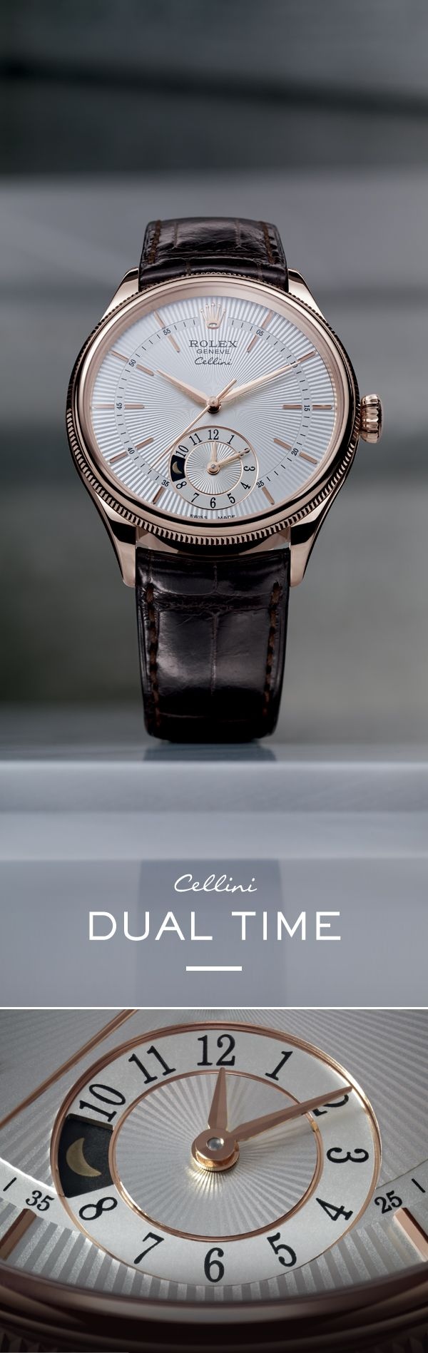 """The Rolex Cellini Dual Time 39 mm in Everose gold with a silver dial featuring a """"rayon flammé de la gloire"""" guilloche motif and mounted on an alligator leather strap. #RolexOfficial #Baselworld"""