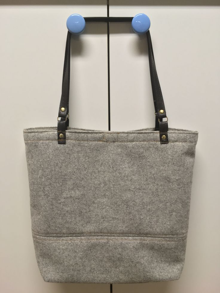 Grey Felt and Brown Leather Tote by Junie8ug