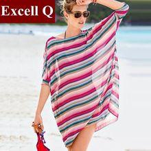 Camisas Femininas лето платье женщины купальный костюм пляж крышка вверх туника бита рукав свободного покроя шифон рубашка Blusas(China (Mainland))