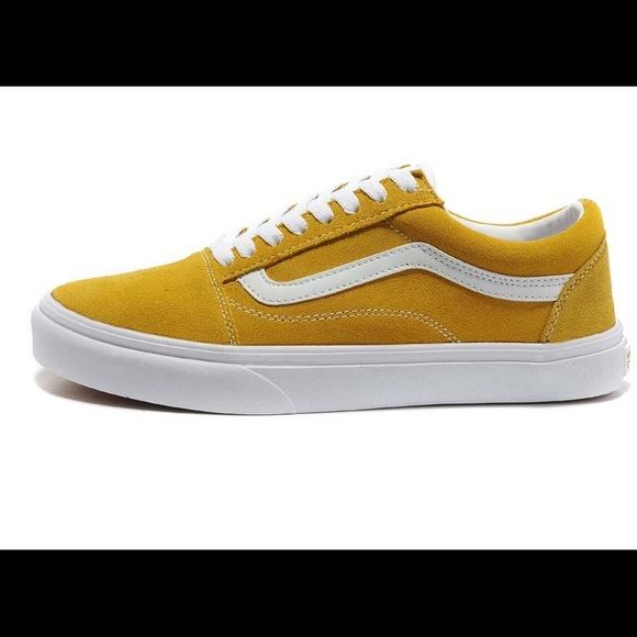 Vans sk8-lows These are skate low Vans in a 70's yellow. Never worn! They are a men's/youth size 4.5 which is equivalent to a women's 6 or 6.5. Vans Shoes Sneakers