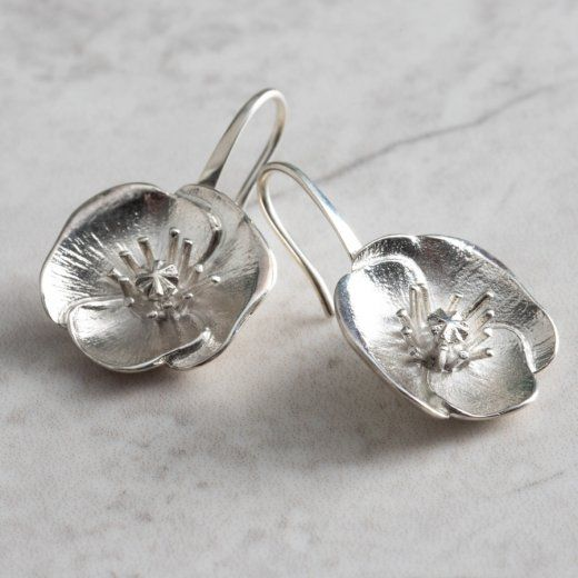 Mosami Poppy Remembrance Silver Drop Earrings