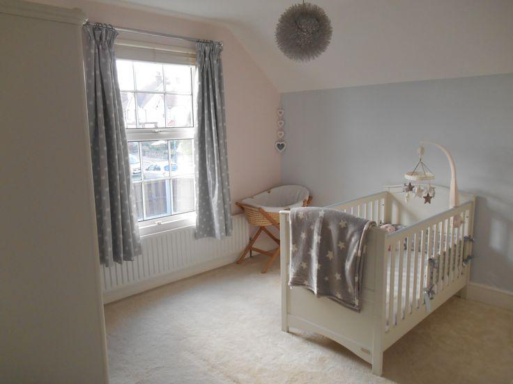 Pink & grey walls, grey star theme, white nursery furniture from Mamas & Papas