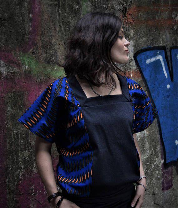 Top Kimono pour femme, Wax bleu Indigo et jean denim bleu , motifs africains, dos en V profond, féminin