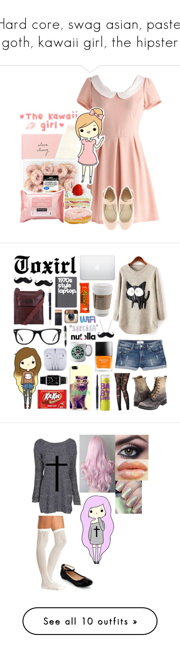 """""""Hard core, swag asian, pastel goth, kawaii girl, the hipster"""" by alyssajspolyvore ❤ liked on Polyvore featuring ASOS, Charlotte Russe, Neutrogena, MANGO, Frye, Jonathan Aston, Muse, Mary Kay, Maybelline and Mulberry"""