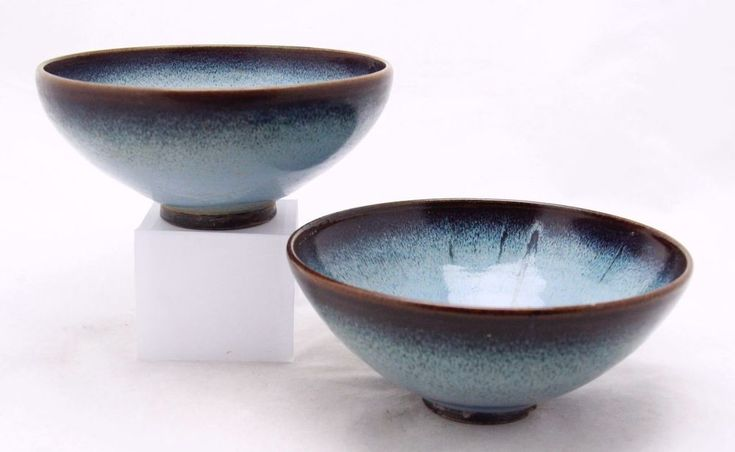 2x antique blue Junyao Chinese ceramic bowl, Jun ware, diameter top 19cm 7.4inch