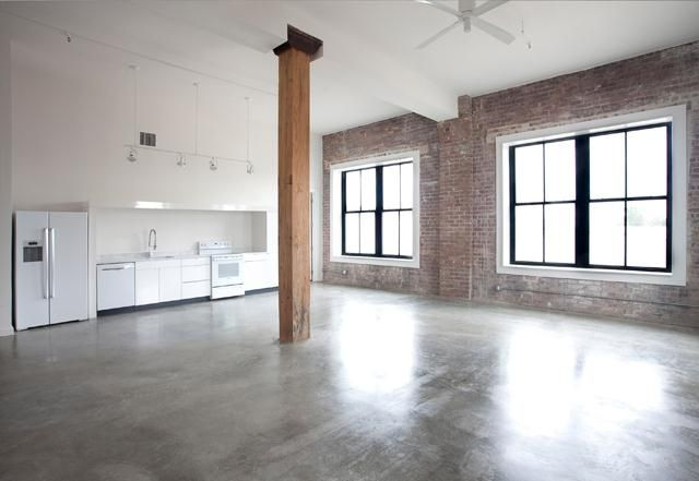 Huge open floor plans at National Rice Mill Lofts in New Orleans.