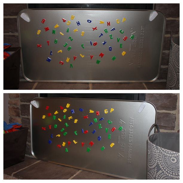 Kids' magnet board from oil drip pan from Walmart ($11.97) @Meg