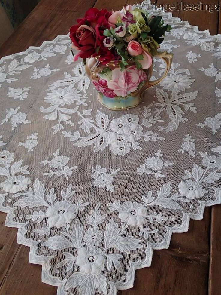 THE MOST Beautiful PAIR Antique Tambour Net Lace Tablecloths Pillow Covers