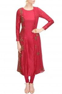 Red sequins embroidered anarkali set