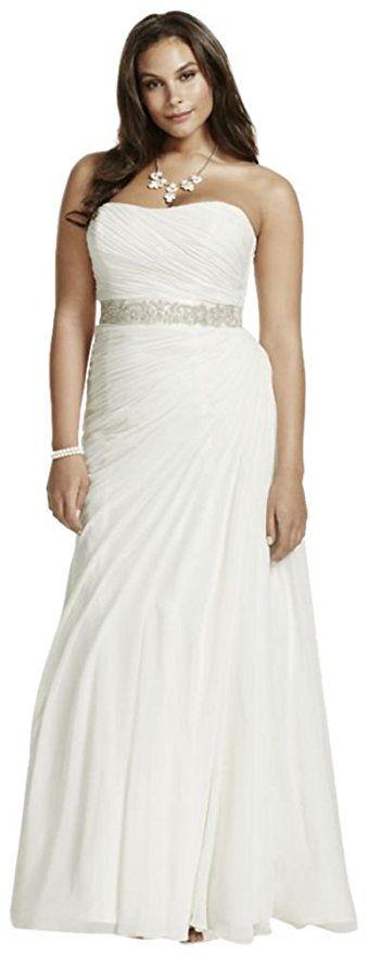Trending Cheap Plus Size Wedding Dress Crinkle Chiffon Draped Plus Size Wedding Dress Style V