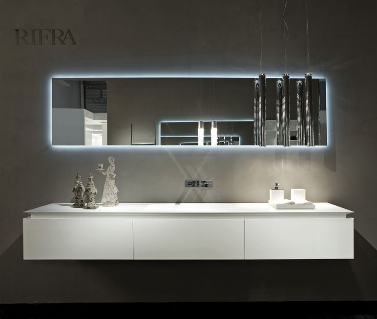 rifra vanity kfly white lacquered vanity and mirror with led back light bathroom bathdesign - Italian Design Bathroom