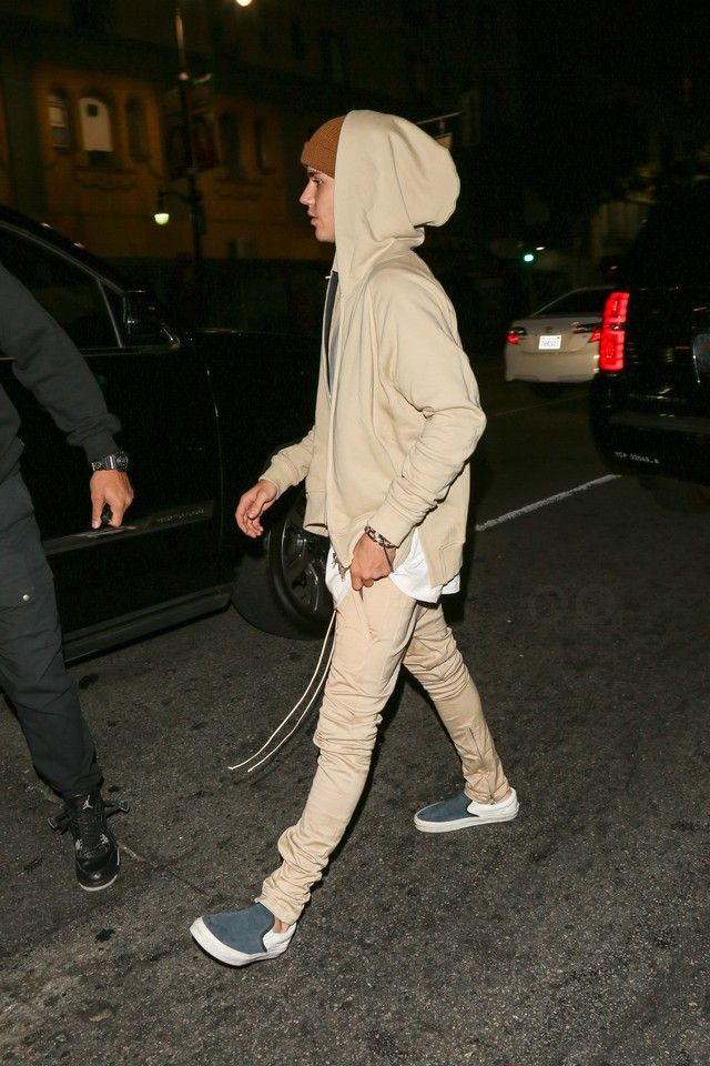 Justin Bieber wearing  Vans California Classic Slip On Scotchgard, Fear of God Coffee Folded Beanie, Fear of God The Drawstring Trousers